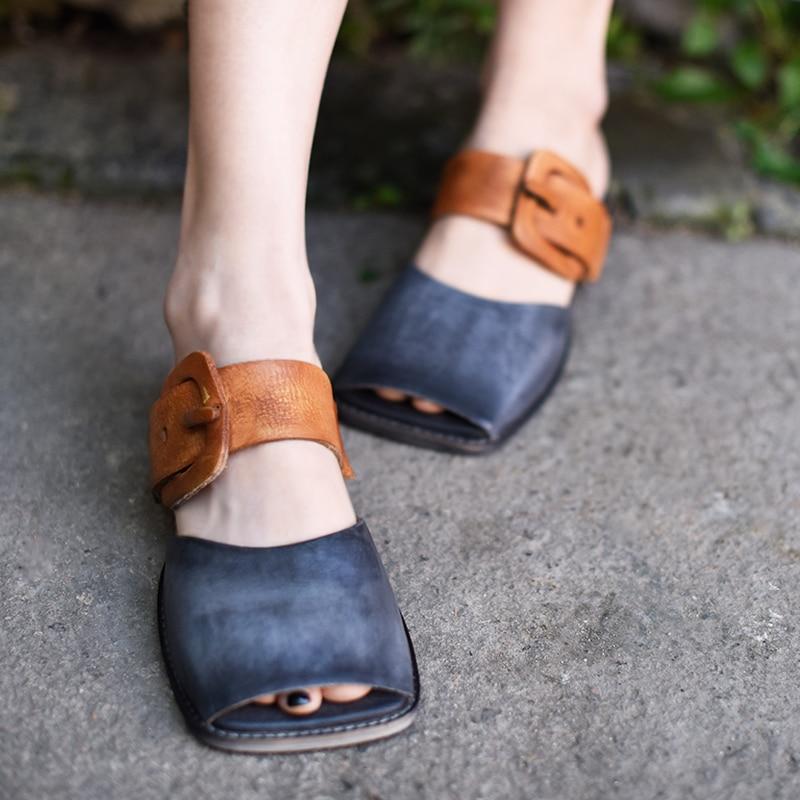 Artmu Original Retro Art cinturón plano hebilla mujeres zapatillas Peep Toe cuadrado dedo del pie cuero genuino exterior sandalias 1812  15-in Zapatillas from zapatos    1