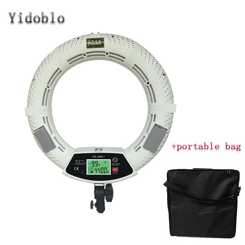 Yidoblo FE-480II White Pro Photograph LED Ring Light + Soft handbag LCD Screen Lamp RC Photographic Lighting 480LED Lights