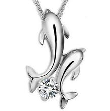 Double Dolphin Love Symbol Patter Necklace Pendant Vintage Silver Charm Choker Collar Statement Necklace Women Jewelry DIY B371