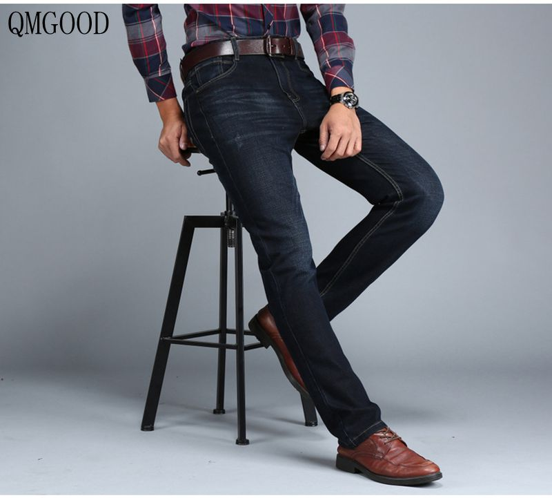 QMGOOD Large Size Straight Men's Jeans 2017 New Autumn and Winter Leisure Retro Stretch Men and Women Simple Black Jeans 40 44 studio m new white black women s size large l printed straight pencil skirt $78