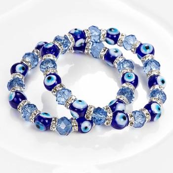 Wish Card Blue Evil Eyes Lucky Glass Beads Bracelet For Women Men Jewelry Horseshoe Turkish Prayer Strand Bracelet Gift EY5226 2