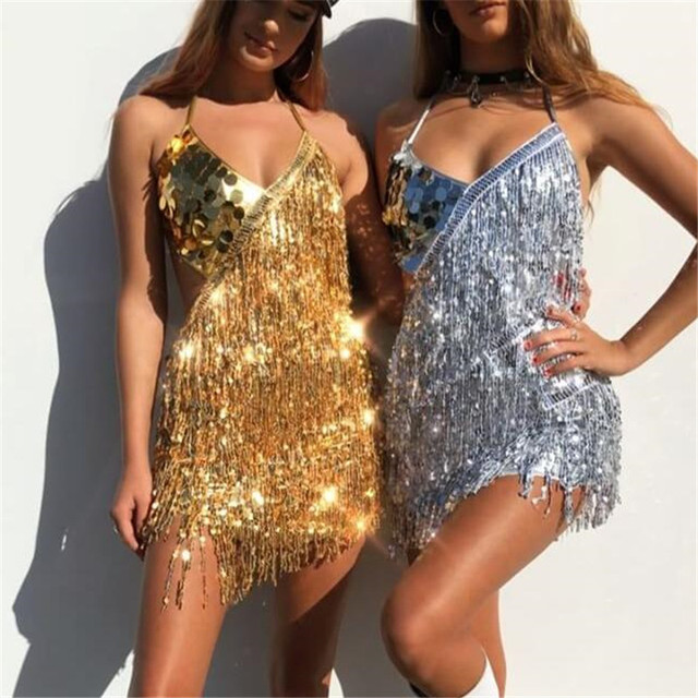 MUXU silver sequin dress gold glitter woman clothes patchwork fringe  backless suspender party ladies dresses club vestido jurken 7d7f6215d721