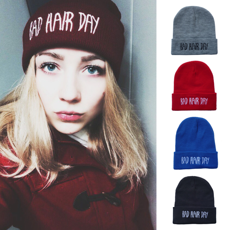 Letter Hat Women Men Casual Bad Hair Day Beanie Caps Fashion Winter Knitted Hiphop Hat Warm Mask Cap For Unisex Y4 2017 new wool grey beanie hat for women warm simple style bad hair day knitting winter wooly hats online ds20170123 x24