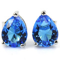 Pretty Swiss Blue Topaz Drop Created SheCrown Woman's Engagement   Silver Stud Earrings 9x7mm