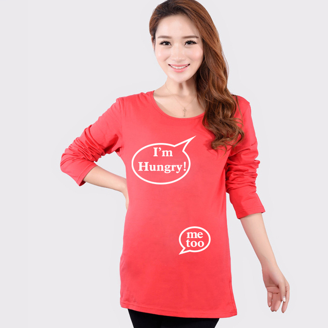 87833103 Autumn Hot Maternity Funny Baby Shirts Plus Size Long Sleeve Red Tops Tees  Clothes For Pregnant Women Pregnancy Wear Clothing