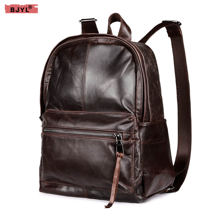BJYL New men and women backpacks retro genuine leather backpack First layer leather casual shoulder bag oil wax leather bags new genuine leather women oil nubuck retro women backpack casual backpack casual shoulder bag bucket bag a4625