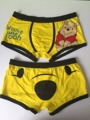 2017 New  High quality 100% cotton cartoon men's Boxer / men underwear lovely bear (yellow)