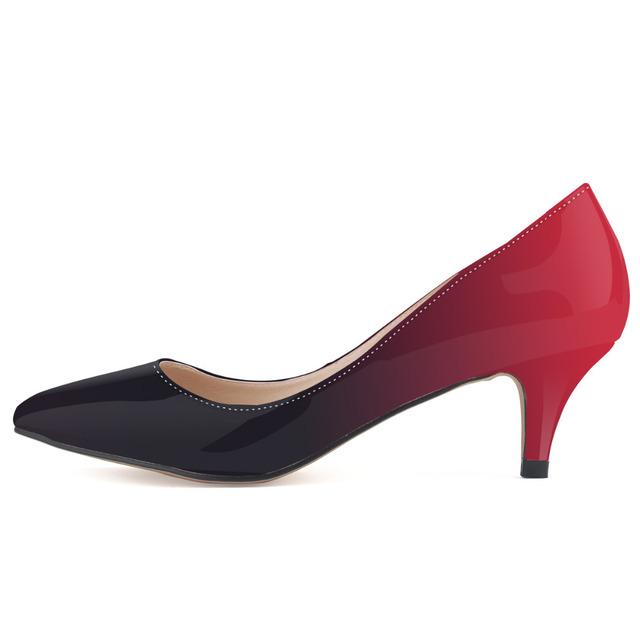 Profesional de las mujeres brillantes zapatos de punta cerrada med tacón bombas moda double color zapatos 5 cm zapatos de tacón alto de mujer de carrera de la oficina zapatos