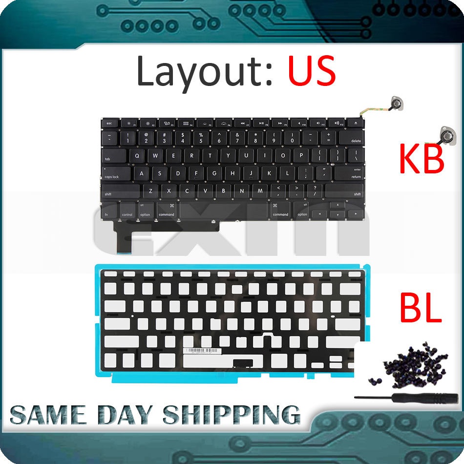 NEW Laptop A1286 Keyboard US English for Apple Macbook Pro 15'' A1286 US Keyboard With Backlight Backlit + Screws 2009-2012 Year a1286 top case for apple macbook pro a1286 top case with us keyboard for 2008