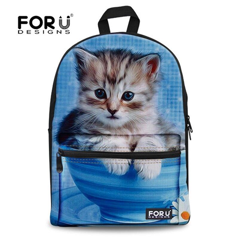 FORUDESIGNS 캐주얼 숄더 백팩 학생 소녀 블루 3D 고양이 동물 여성 배낭 어깨 노트북 가방 여행 배낭