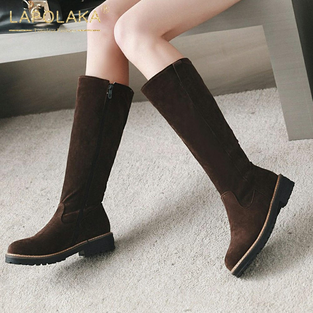 Lapolaka Hot Sale Large Size 34 43 Wholesale Zip Up Add Fur Winter Boots Woman Shoes Chunky Heels Shoes Woman Mid Calf Boots