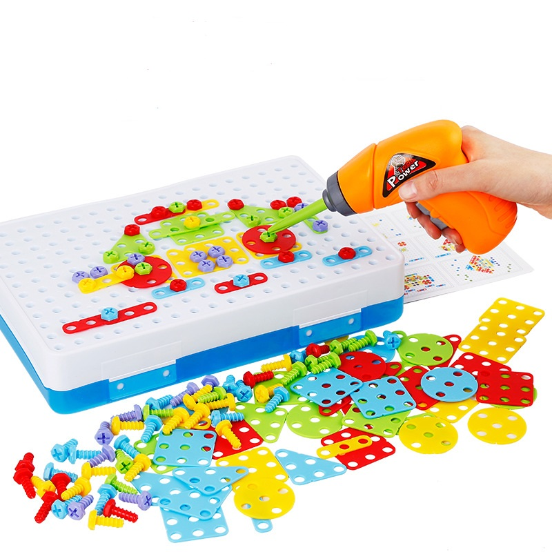 Kids Drill Toys Creative Educational Toy Electric Drill Screws Puzzle Assembled Mosaic Design Building Toys Boy Pretend Play Toy цена