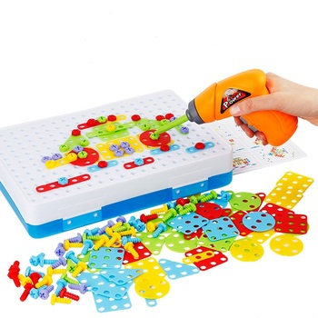 Wiertarka dla dzieci zabawki kreatywne zabawki edukacyjne wkręty do wiertarek elektrycznych Puzzle zmontowane mozaiki Design zabawki budowlane chłopiec udawaj zabawkę tanie i dobre opinie Z tworzywa sztucznego For ages 3 years + 6 lat Chłopcy Narzędzia ogrodowe zabawki Elektroniczny Model Kids Drill Toys