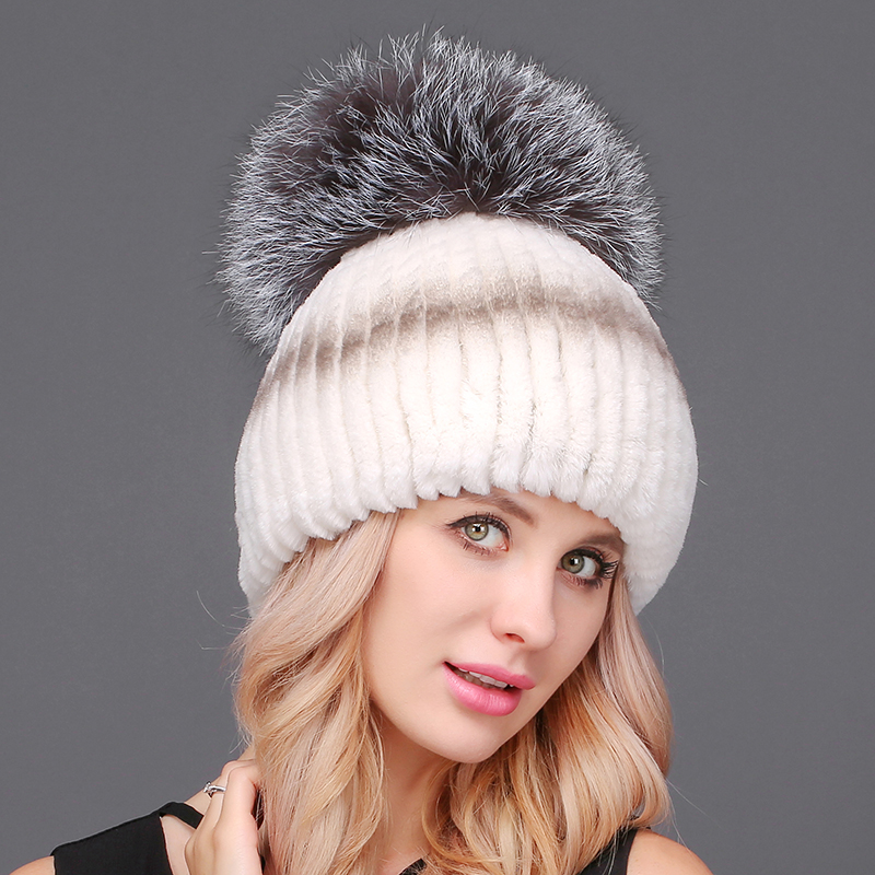 Maylooks Luxury Hat Women Raccoon Fur Pom Poms Solid Hats Female Lady Warm Winter Cap Thick  Caps For Women Beanies new star spring cotton baby hat for 6 months 2 years with fluffy raccoon fox fur pom poms touca kids caps for boys and girls