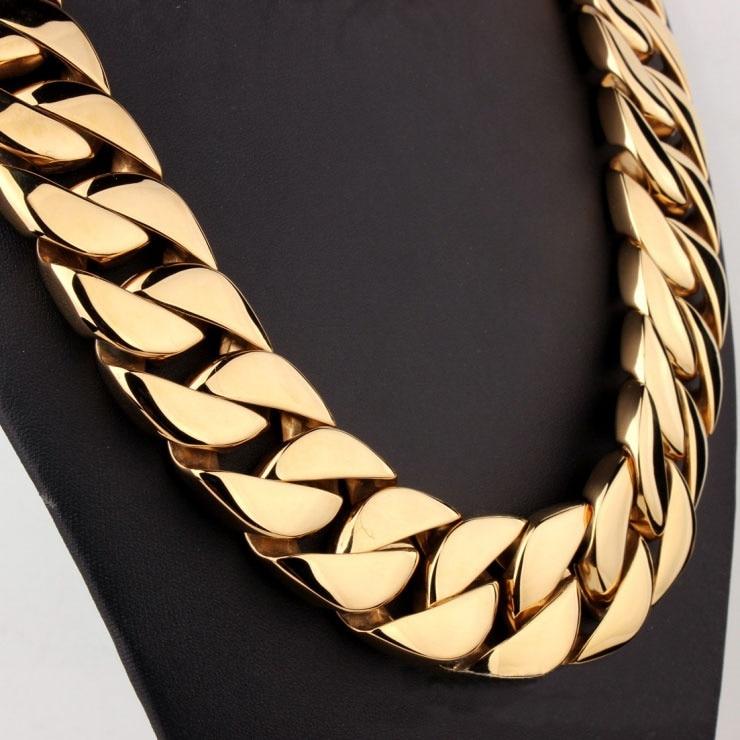 Top qualité 24k or rempli 316L acier inoxydable poli bordure 24mm bande 70cm longueur solide lourde longue chaîne collier bijoux