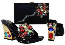 New Charming Italienische Schuhe Mit Passenden Taschen Strass Schwarz Hohe Qualität African Schuhe Und Taschen Für Hochzeit BCH-36