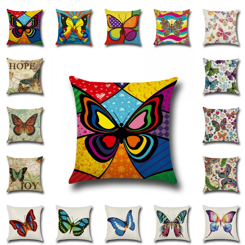Flower Butterfly Cushion Covers 45*45cm Cotton Linen Pillow Case Wedding Decorative Pillowcase For Home Sofa Office Chair Decor