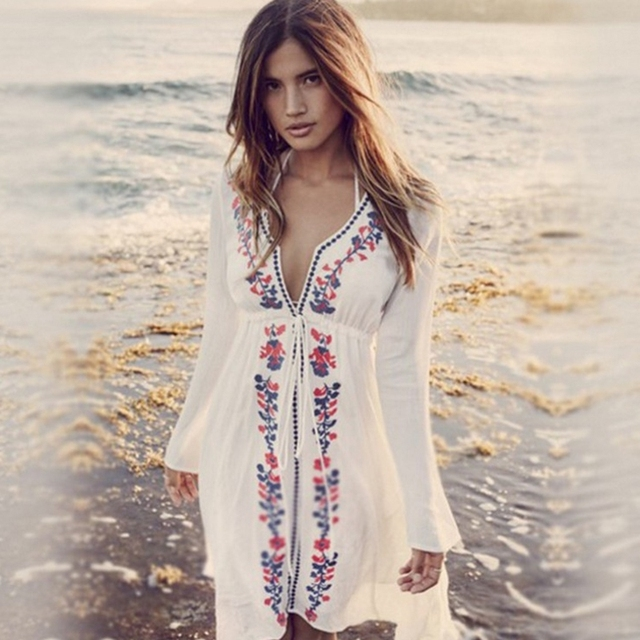 d6cee61184 Sexy Deep-V Neck Swimsuit Cover Ups Women Sexy Kaftan Beach Tunic Dress 2018  Summer Robe De Plage Cotton Pareo Beach Cover Up
