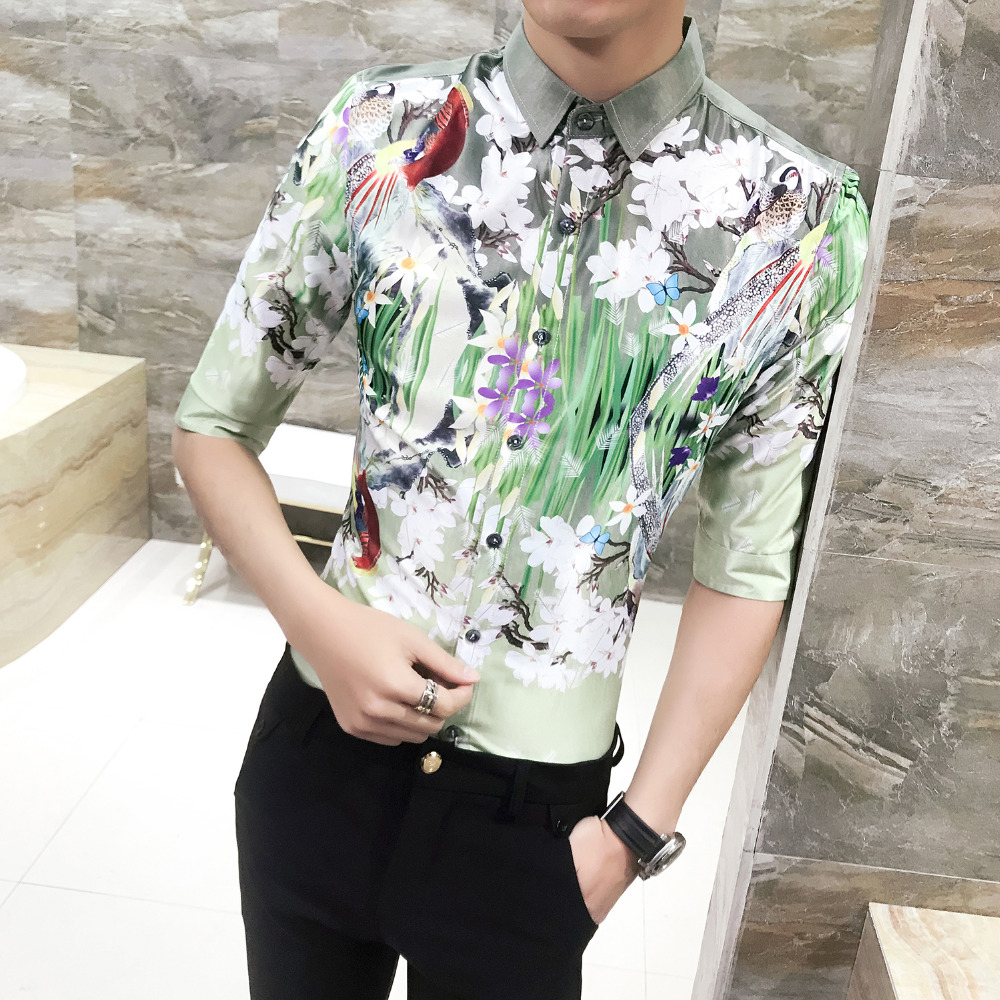 Korean 2018 Tuxedo Shirt Summer Slim Fit Hairstylist Work Shirts Half Sleeve Print Casual Turn Down Collar Social Shirt Dress