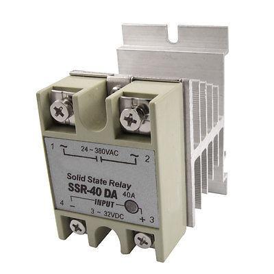 DC to AC Screw Terminals Single Phase Solid State Relay 40A 3-32V 24-380V w heat high quality ac ac 80 250v 24 380v 60a 4 screw terminal 1 phase solid state relay w heatsink