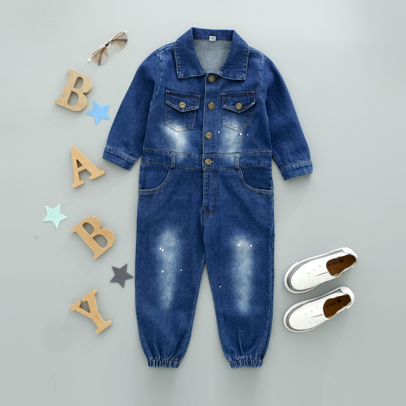 Children baby jeans coveralls cowboy tooling denim clothing set kids long sleeve clothes button denim coat for boys girls cotton baby rompers set newborn clothes baby clothing boys girls cartoon jumpsuits long sleeve overalls coveralls autumn winter