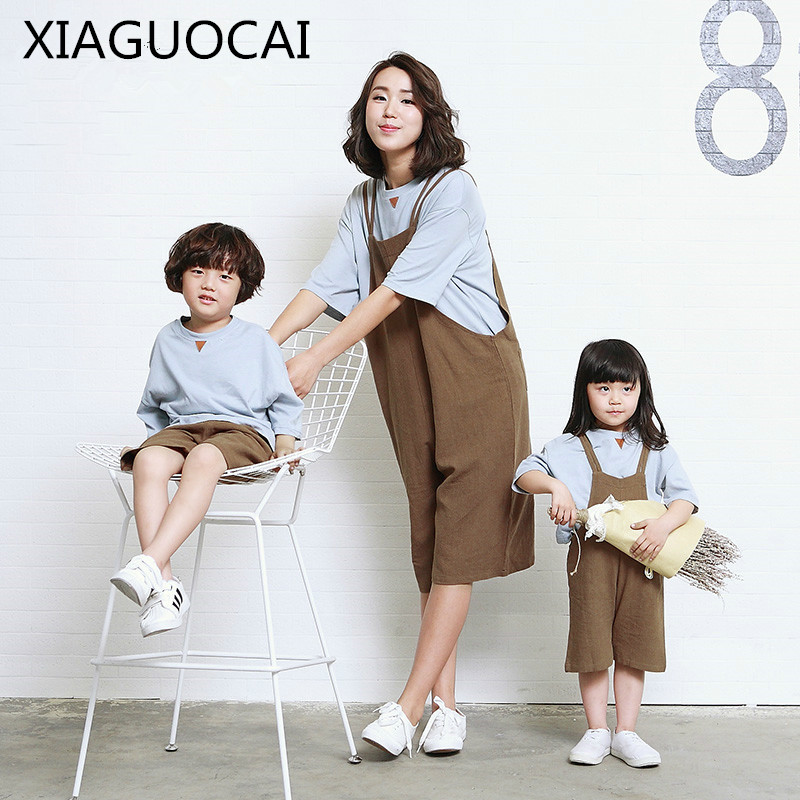 XiaGuoCai Spring and summer Mother And Father Son Daughter Family Suits Literature Comfortable family matching outfits l13 35 matching family clothing set 2015 autumn style winter family look matching mother daughter father son long sleeve sweater set