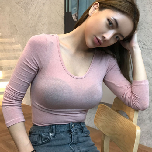 sexy tight thin Women spring New U-Neck tops Long Sleeve Tees Womens Tops Casual Tee Femme tops pullover футболка жен Платье
