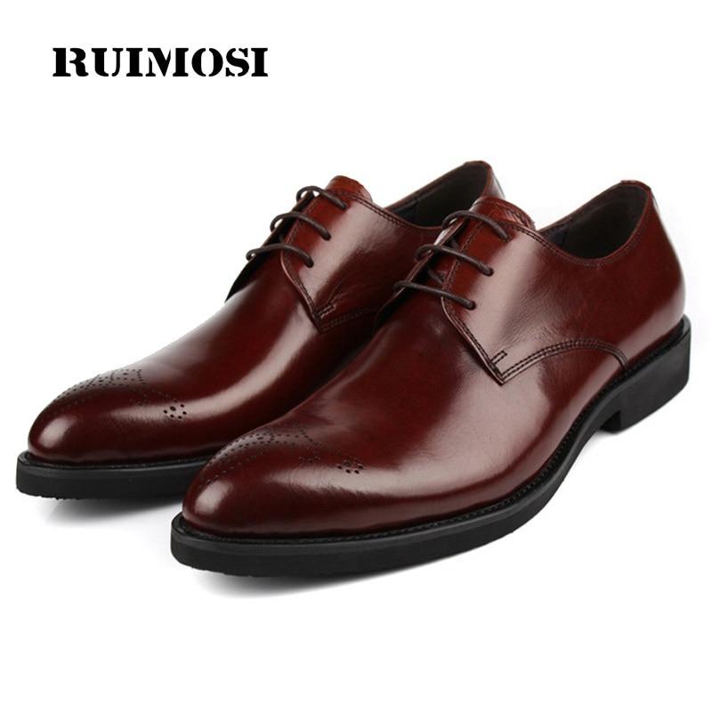 RUIMOSI Semi Brogue Formal Man Dress Shoes Genuine Leather Designer Oxfords Luxury Brand Men's Wedding Footwear For Male EH40
