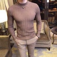 2019 осень и зима новый мужской модный бутик хлопок сплошной цвет британский джентльмен вязаный свитер/Мужской Повседневный свитер с капюшон...