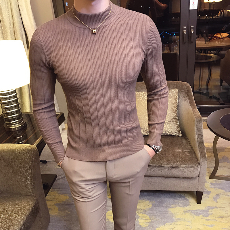 2019 Autumn And Winter New Mens Fashion Boutique Cotton Solid Color British Gentleman Knitted Sweater / Male Casual Hood Sweater