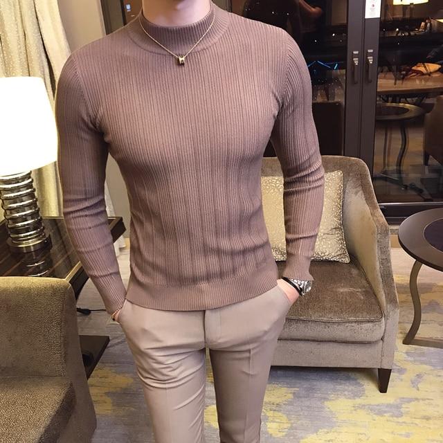 2020 סתיו וחורף חדש Mens אופנה בוטיק כותנה מוצק צבע בריטי אדון סרוג סוודר/זכר מקרית הוד סוודר