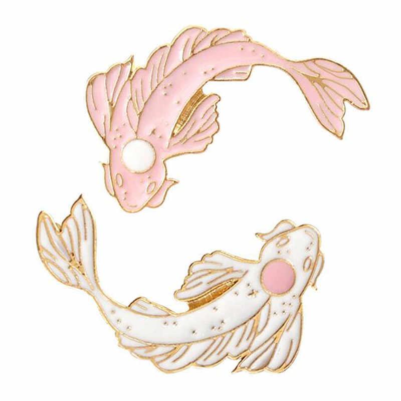 Fashion Koi Badge Cute Goldfish Carp Enamel Pin Denim Lapel Fish Badge Family Kid Blessing Gifts Friends Personality Jewelry
