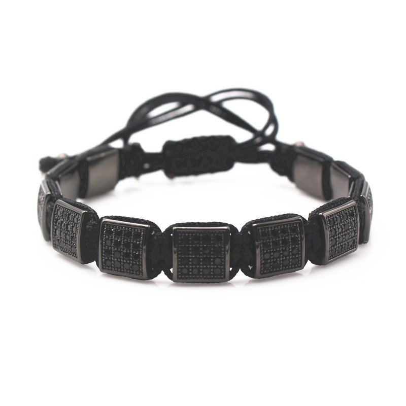 New Style Bracelets Mens 10mm Micro Pave Black CZ Square Beads Bracelets& Bangle, Braided Macrame Charm Wrap Bracelets For Men buy mens string bracelets
