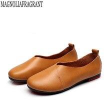 4067fd7304 2017 Original Da Arte Do Vintage feitos à mão sapatos de Marca Flats  Mulheres Sapatos de Couro Genuíno boca Rasa Mulheres Sapato.