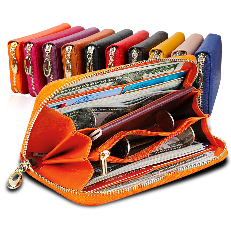 Women's Purse Wallets Long-Phone RFID Zipper Big-Capacity Genuine-Leather Ladies Travel