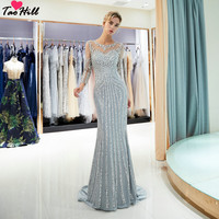TaoHill Luxury Long Sleeves Sexy Major Beading and Crystals Mermaid Evening Dress Party Gown Silver