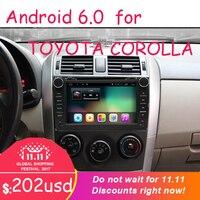 2 din четырехъядерный android 6,0 Автомобильный dvd Bluetooth колесо аудио управление руля для toyota corolla toyota 2007 2008 2009 2010 2011