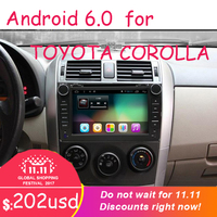 2 din Quad Core android 6.0 car dvd Bluetooth Wheel Audio Control Steering for toyota corolla toyota 2007 2008 2009 2010 2011