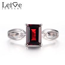 Leige Jewelry Natural Red Garnet Promise Rings January Birthstone 925 Sterling Silver Red Gemstone Rings Prong Setting Rings
