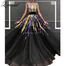 Illusion Black Evening Dresses Robe De Soiree Multi Color Sequin Party Gowns Kaftans Arabic Long Prom Dresses 2019 New Arrival