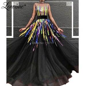 Image 1 - Illusion Siyah Abiye Robe De Soiree Çok Renkli Pullu Parti Törenlerinde Kaftanlar Arapça Uzun balo kıyafetleri 2019 Yeni Varış