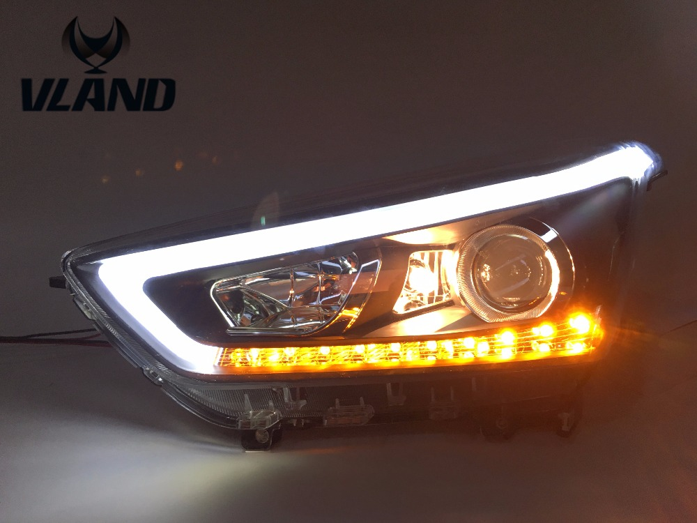 VLAND manufacturer for Car head lamp for IX25 LED Headlight 2014 2015 2016 Head light with H7 Xenon lamp and Day light vland 2pcs car light led headlight for jetta headlight 2011 2012 2013 2014 demon eyes head lamp