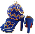 Royal Blue With Italian shoes and bags to matching pumps shoes wedding party heel African women shoes and bag set for BCH-09