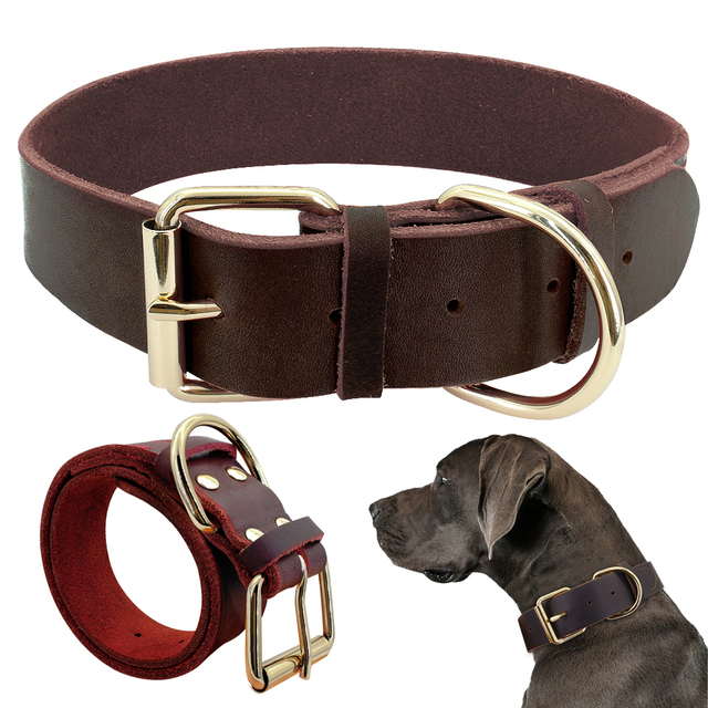 Dog Puppy Collar Genuine Leather Pet Collars For Small Medium Large Dogs Real Leather German Shepherd Big Dog Collar XS-XXL
