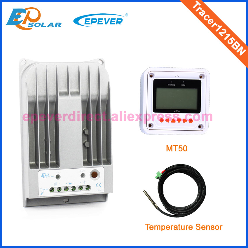 MPPT solar tracking system controller Tracer1215BN+temperature sensor MT50 remote meter 10A 10amp Max PV input 150v tracer2210a black mt50 remote meter mppt solar battery controller with usb and temperature sensor 20a