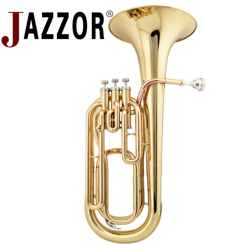 JAZZOR JZBT-300 Professional Baritone Horn B Flat Gold / Silver Brass Baritone Brass Wind Instrument With Mouthpiece & Case