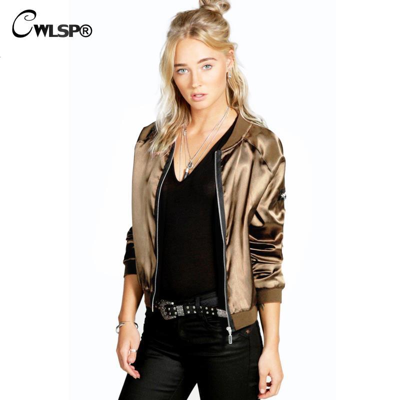 CWLSP Őszi szatén bombázó kabát női kabátok cipzáras hosszú ujjú állvány gallér casacos baseball Outwear chaqueta mujer 2018
