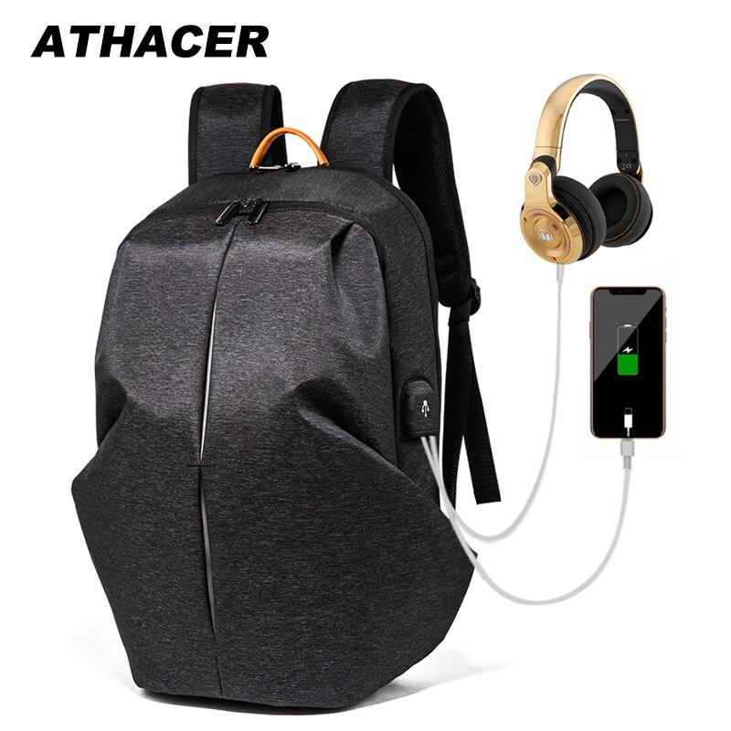 Athacer sac à dos de voyage étanche hommes 15.6 ''pochette d'ordinateur grande capacité sac à dos USB charge Cool garçons épaules école sac à dos