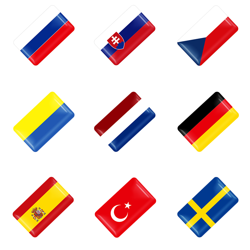 10pcs 3D Epoxy Car Styling National Flag Logo Small Decoration Car Stickers Auto Accessories Shield Flag Sticker National Emblem