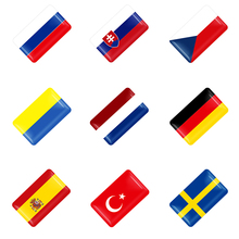 10pcs 3D Epoxy Car styling National flag logo Small decoration Stickers Auto Accessories Shield Flag Sticker Emblem